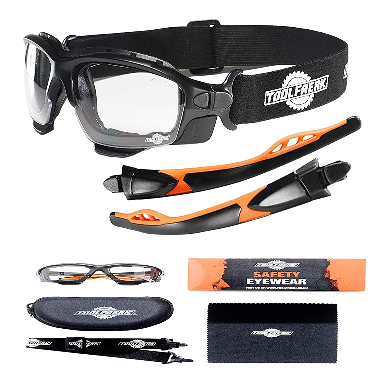 ToolFreak-Spoggles,Safety Glasses & Protective Goggles   Eyewear Foam Padded for Comfort and Better Protection, ANSI Z87 Rated, Clear Lens with UV & Impact Protection