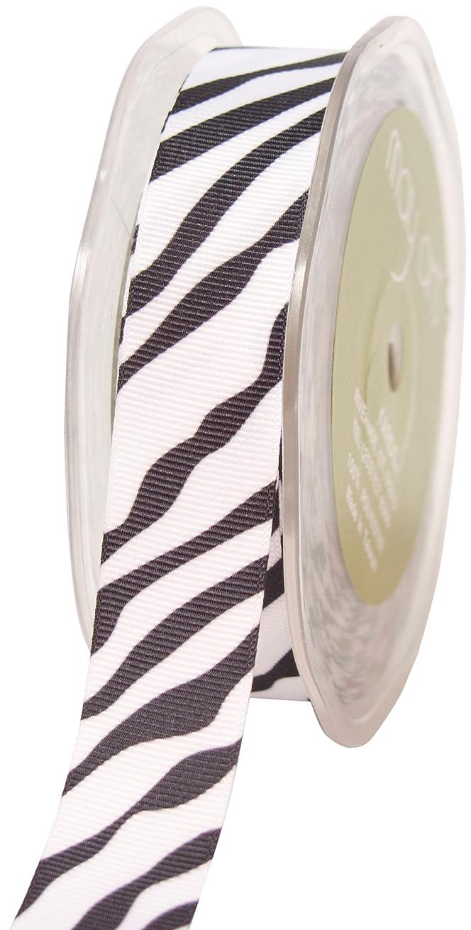 May Arts 7/8-Inch Wide Ribbon, Grosgrain Zebra Print