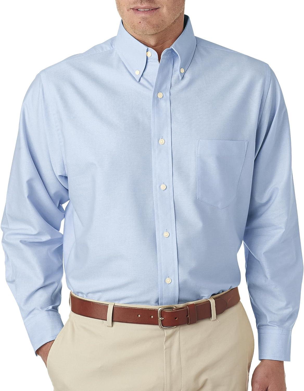 UltraClub Men's Tall Blended Oxford Shirt, Light Blue, X-Large Tall