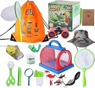 JVJQ Outdoor Explorer Kit – Bug Catching Kit - Nature Exploration Kit with Binoculars, Flashlight, Compass, Magnifying Gla...