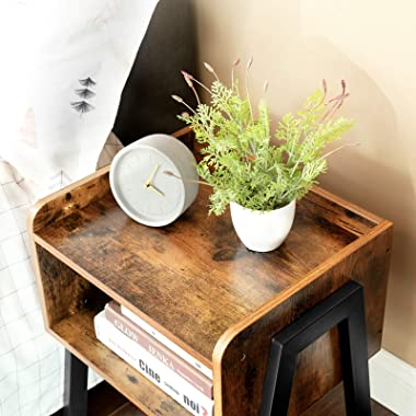 VASAGLE ALINRU Nightstand, Stackable End Table, Side Table for Small Spaces, Storage Compartment, Industrial Accent Furniture