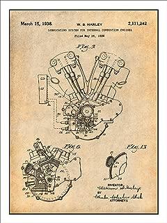 Studio 21 Graphix 1936 Harley Davidson Knucklehead Engine Motorcycle Patent Print Art Poster UNFRAMED Parchment 18
