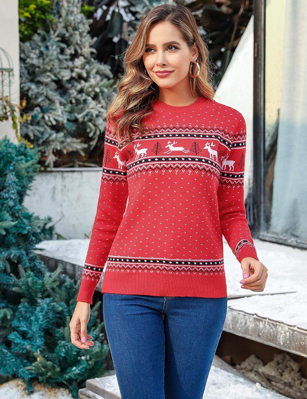 Abollria Damen Lang Strickpulli mit Rentiermuster Weihnachtspullover Rundhals Winterpulli Christmas Sweater für Frauen Mädchen Stil B-rot