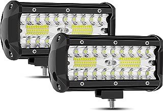 YIERBLUE LED Light Bar,2 Pcs Waterproof 7 Inch LED Light Bar Spot Flood Combo Beam LED Pods 240W 24000 Lm LED Bar for UTV ATV Jeep Pickup Truck Boat