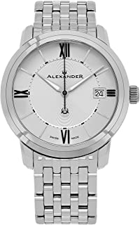 Alexander Heroic Macedon Mens Dress Watch Stainless Steel Metal Band - 40mm Analog Silver Face with Second Hand Date and Sapphire Crystal - Classic Swiss Made Quartz Watches for Men A111B-04