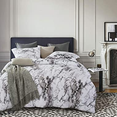 Wake In Cloud - Marble Comforter Set, Gray Grey Black and White Pattern Printed, Soft Microfiber Bedding (3pcs, Queen Size)