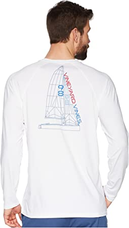 Long Sleeve Perf Raglan Blueprint Sail Tee
