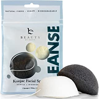 Konjac Sponge - 2 Pack of Natural Facial Sponges for Gentle Cleansing and Face Exfoliating Loofah for Use with Wash, Cleanser or Oil to Clean Skin (1 White Natural, 1 Black Charcoal)