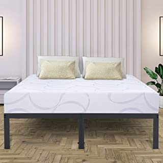 Olee Sleep 14 Inch Tall T-2000 Steel Slat Non-Slip Support Bed Frame,Queen Size, Grey