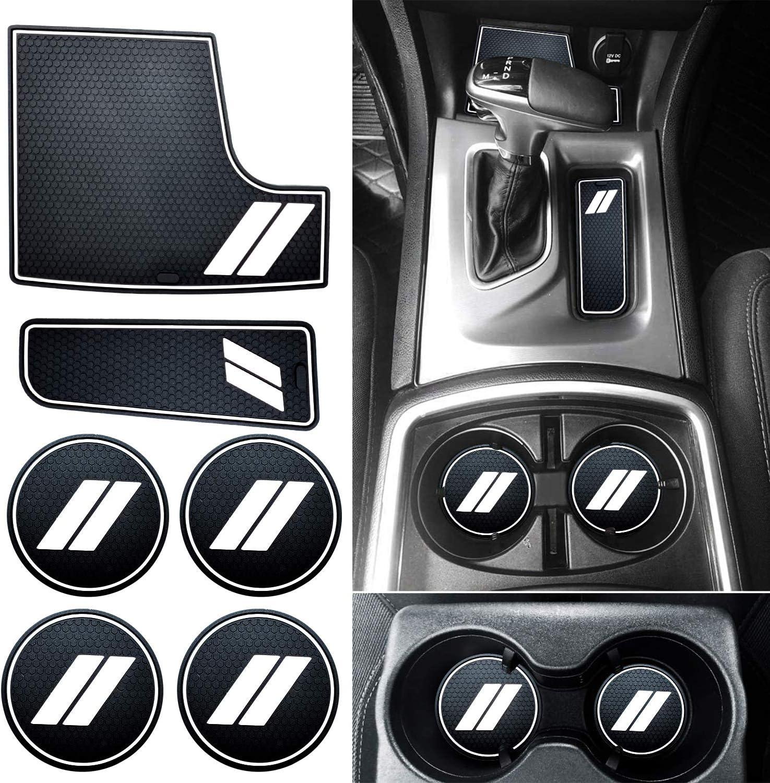 Door Pocket Liners and Center Console Liner Mats Premium Custom Interior HAMSAM for Dodge Charger Accessories 2015-2021 Non-Slip Anti Dust Cup Holder Inserts 6pcs Set,Black Trim