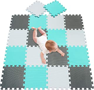 "meiqicool Kid's Puzzle Exercise Play Mat with EVA Foam Interlocking Puzzle Solid Foam Play Mat for Baby- 18 Tiles Puzzle Floor Play Mat with Shapes & Colors 11.8""x 11.8"" 010812"