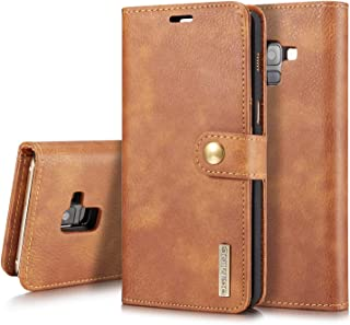 Protective Case Compatible with Samsung Vintage Leather Case Compatible Samsung a8 Plus Case Card Slots Business Wallet Cover Compatible Samsung a8 Plus Phone Case Phone case (Color : Brown)