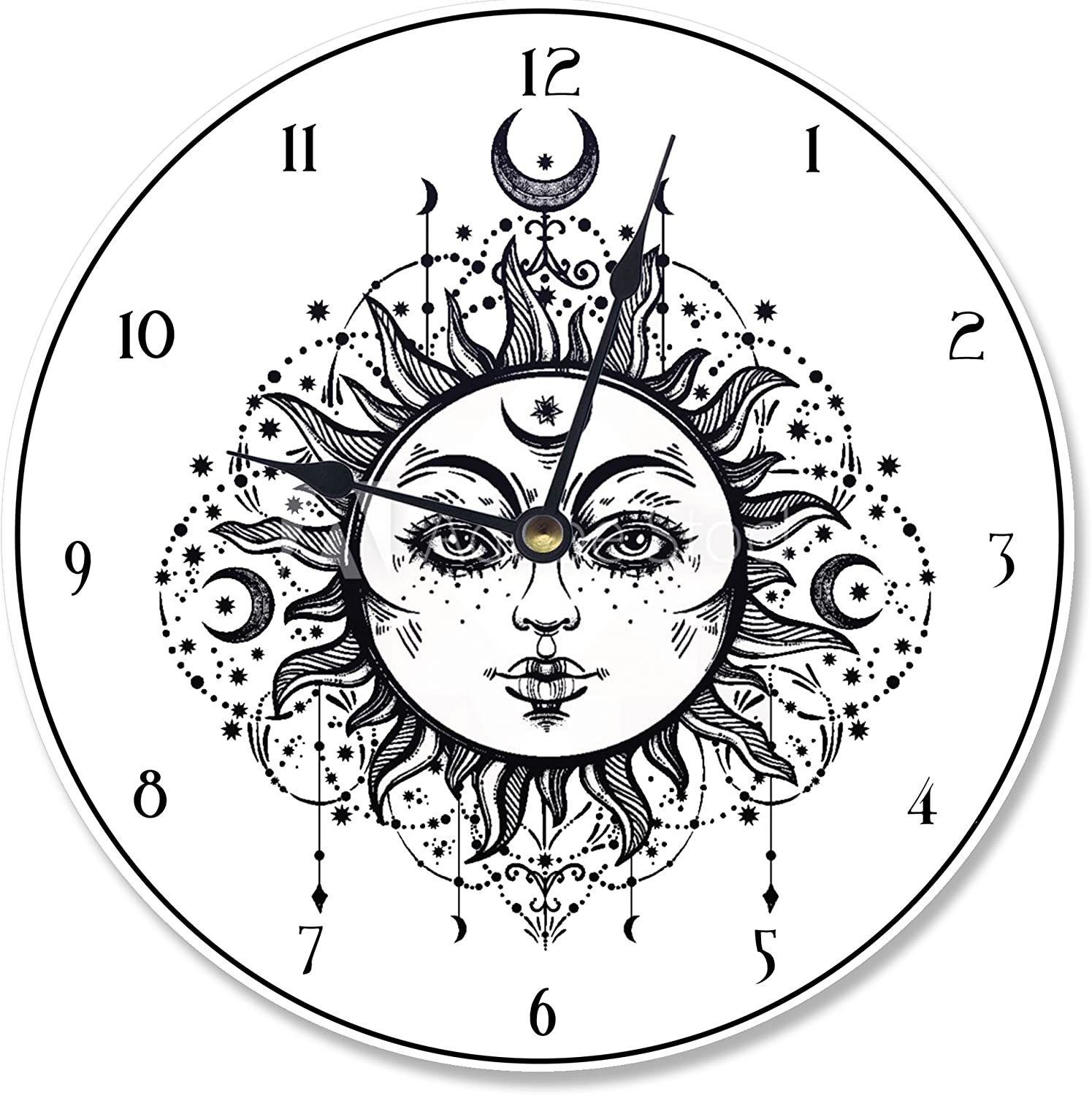 Stupell Industries Tared Black and White Sun Vanity Clock, Proudly Made in USA