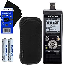 Olympus WS-853 Digital Voice Recorder (Black) with Built-in 8GB & Direct USB + Protective Case + AAA Rechargeable Batteries + HeroFiber Ultra Gentle Cleaning Cloth