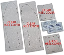 Mens Shoe Sole Bottom Cover for Dress Shoes - Anti Slip Rubberized Pads - Available in Clear Red & Black (Clear)
