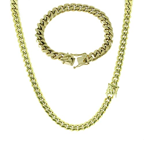 a02afb25caadf HarlemBling 10mm Gold Miami Cuban Link Chain with 8.5
