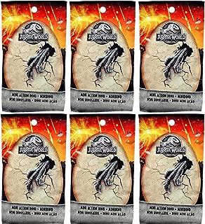 Jurassic World Mini Action Dino (Dinosaur) Figures Blind Bags Gift Set Bundle - 6 Pack (Assorted)