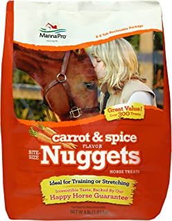 Manna Pro Bite-Size Carrot and Spice Flavored Training Treats for Horses, 4 lb