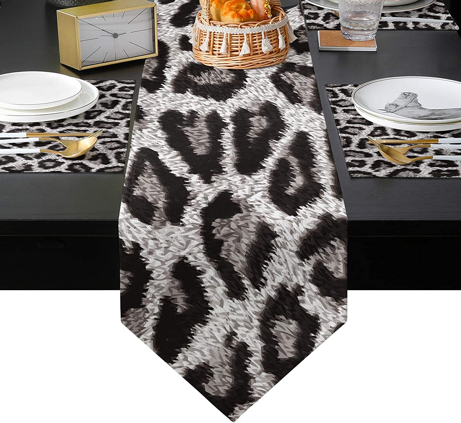 BABE MAPS Brand Cheap Sale Venue Leopard Print Table Runner Placemats Popular popular 6 of Cot Set and