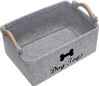 Geyecete Dog Toys Storage Bins - with Wooden Handle, Pet...