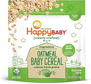 Happy Baby Organic Clearly Crafted Cereal Whole Grains Oatmeal, 7 Ounce Bags (6 Count)..