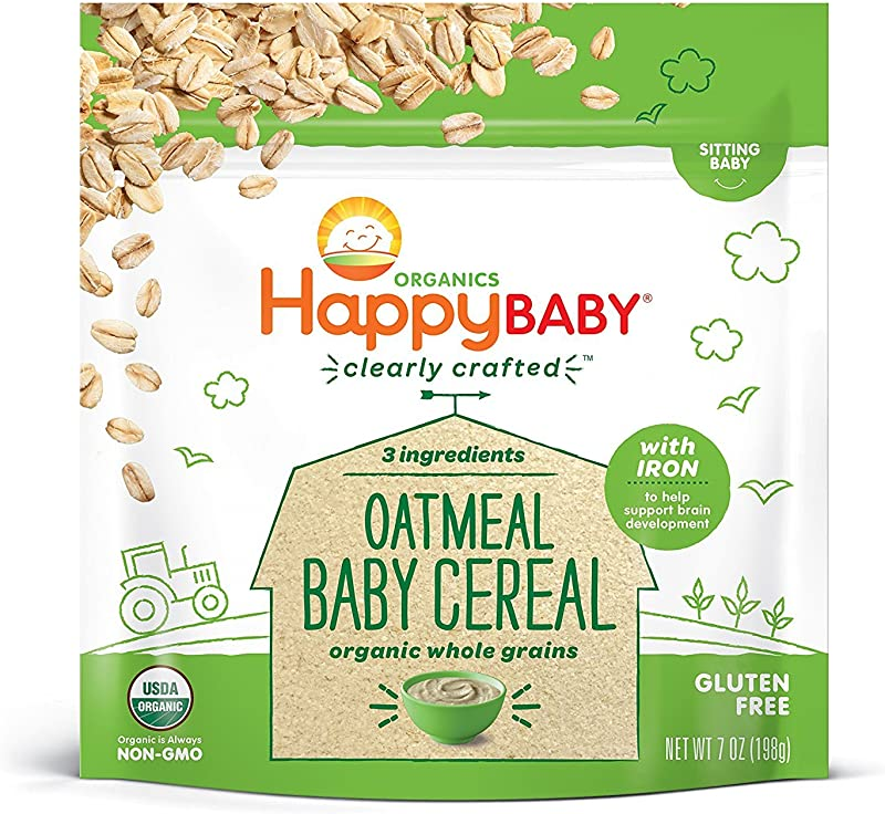 Happy Baby Organic Clearly Crafted Cereal Whole Grains Oatmeal 7 Ounce Bags 6 Count Organic Baby Cereal In A Resealable Pouch With Iron To Support Baby S Brain Development A Great First Food