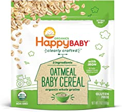 Happy Baby Organic Clearly Crafted Cereal Whole Grains Oatmeal, 7 Ounce Bags (6 Count) Organic Baby Cereal in a Resealable Pouch with Iron to Support Baby's Brain Development a Great First Food