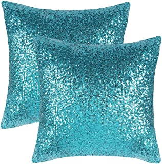 PONY DANCE Blue Sequin Pillow - Sparkling Sequins Fashion Cushion Covers Luxurious Throw Pillow Cover for Home/New Year/Christmas Party/Banquet Decoration, 18 x 18 inches, Teal, 2 PCs