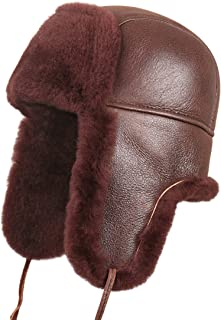 Unisex Shearling Sheepskin Leather Aviator Russian Ushanka Trapper Winter Fur Hat