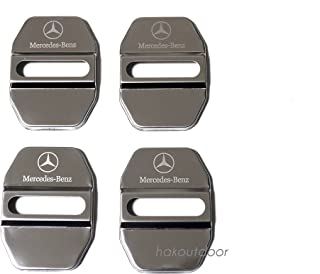 シルバーアロー ロゴ 鏡面 ステンレス ベンツ ドアストライカー カバー 4個SET(1台分) 各車種汎用 メッキ 純正仕上がり メルセデスベンツ A B C E S GLA GLC GLK GLE CLA 各クラス AMGロゴが不要&AMG車...