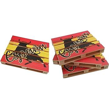 Compra GERILEO Posavasos Europallet España - Packs de 4-6 palets en miniaturas de Madera con la Bandera de España Apto para Bares, hogar y Oficina. (6) (4) en Amazon.es