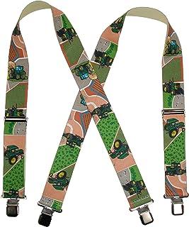 CTM® Men's Elastic Clip-End 2 Inch Farm Tractor and Fields Suspenders, Tractors