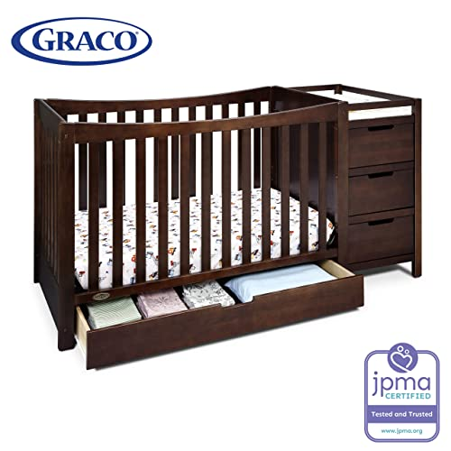 Graco Remi 4-in-1 Convertible Crib and Changer, Espresso, Easily Converts to Toddler Bed Day Bed or Full Bed, Three Position Adjustable Height Mattress, Some Assembly Required (Mattress Not Included)