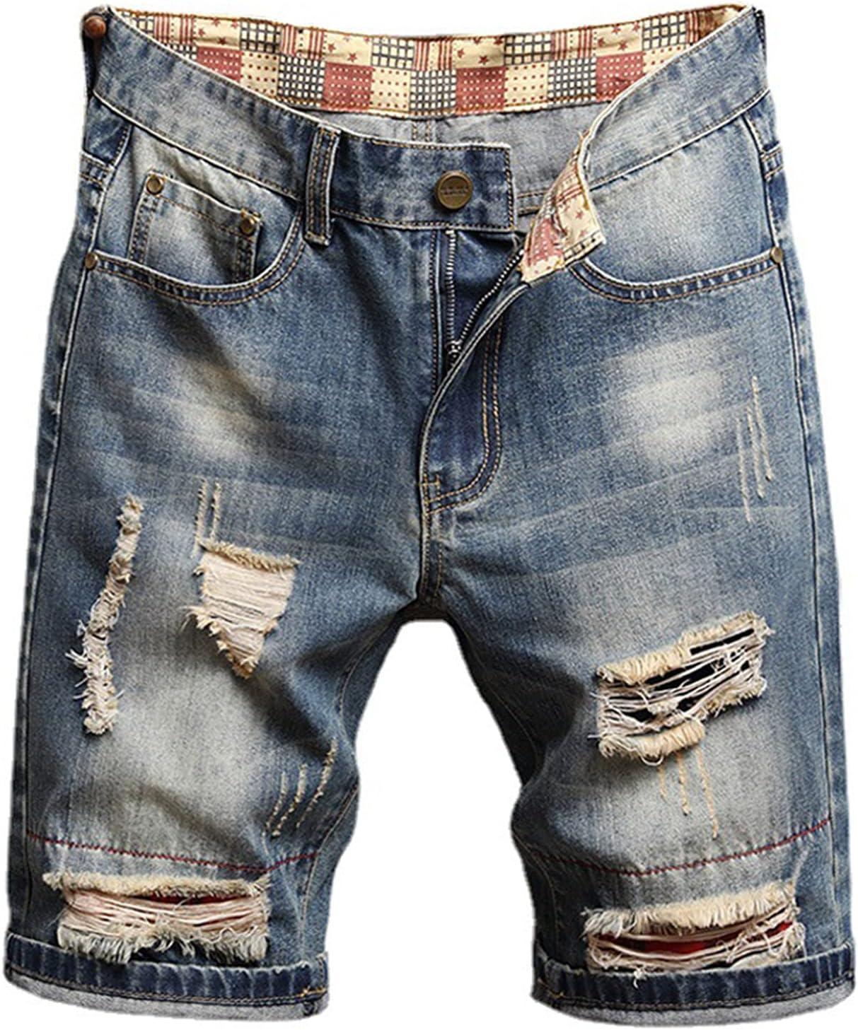 Men's Ripped Retro Shorts Biker Distressed Loose Short Jeans Summer Straight Denims Short-Pant With Broken Hole (Blue 12,29)
