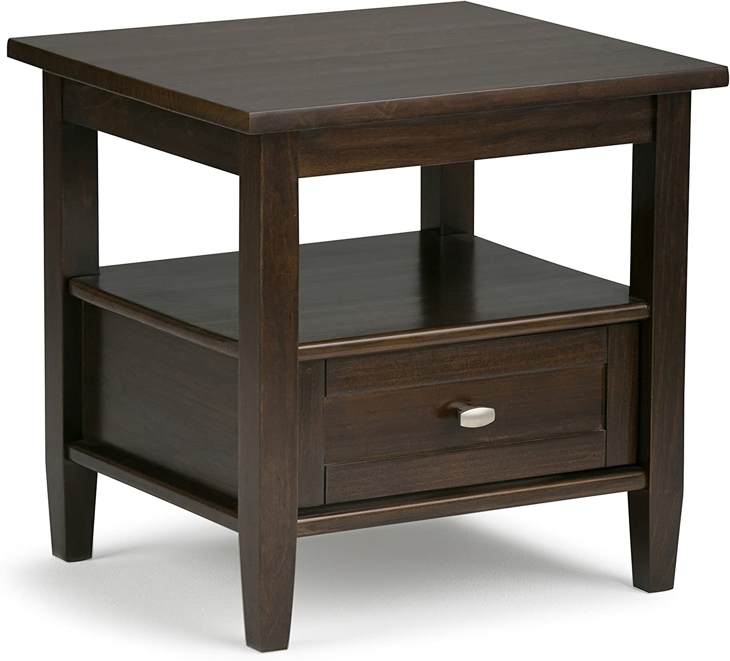 Simpli Home AXWSH002-TB Warm Shaker Solid Wood 20 inch wide Rustic End Side Table in Tobacco Brown