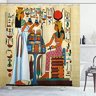 Ambesonne Retro Shower Curtain, Papyrus Design with Elements of Ancient Egyptian History Illustration Pattern, Cloth Fabric Bathroom Decor Set with Hooks, 70