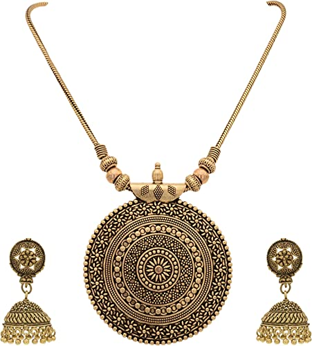 Oxidised German Silver Pendant Necklace with Earrings for Women and Girl s