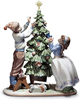 Lladro Christmas Tree Figurines Handmade Statue 5897 TRIMMING THE TREE 01005897 - Best Gift for the Holidays, Birthdays and any other occasions - Precious moments - home decor decorations