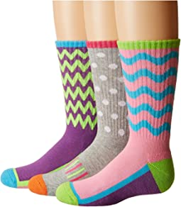 Jefferies Socks Sporty Half Cushion Crew Socks 3-Pair Pack (Toddler/Little Kid/Big Kid/Adult)