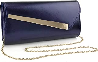 Wedding Party Womens Evening Clutch With Chain Strap Metal Bar Accent Purse