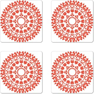 Ambesonne Red Mandala Coaster Set of 4, Hungarian Round Folk Art Pattern Tulips Traditional Kalocsai Old Fashioned, Square Hardboard Gloss Coasters for Drinks, Standard Size, Vermilion White
