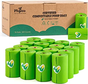 Pkpoo Compostable Poop Bags Certified, 240 Plant-Based Poop Bags for Dogs, Unscented Doggie Waste Bags - Vegetable-Based Extra Thick with 100% Leak-Proof, Green Dog Poo Bags