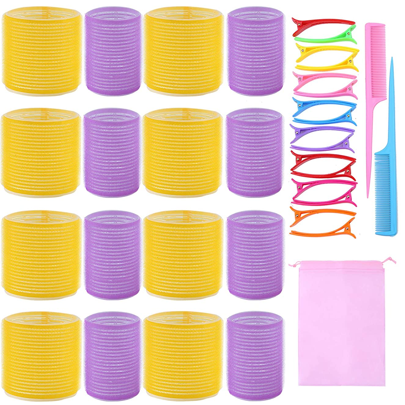 URATOT Jumbo Size Self Grip Hair Rollers Set 24 Rollers, 64mm and 44mm, 20 Duck Bill Clips, 2 Combs, 1 Storage Bag, Hairdo Tools for Adults and Kids