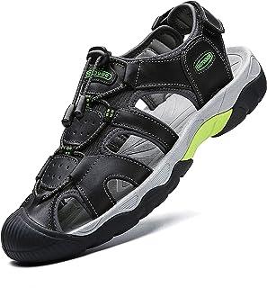Homme Sandales de Randonnée Cuir Marche Fermées Été Extérieur Chaussures de Sport d'eau Plage Closed Toe pour Grande Taille