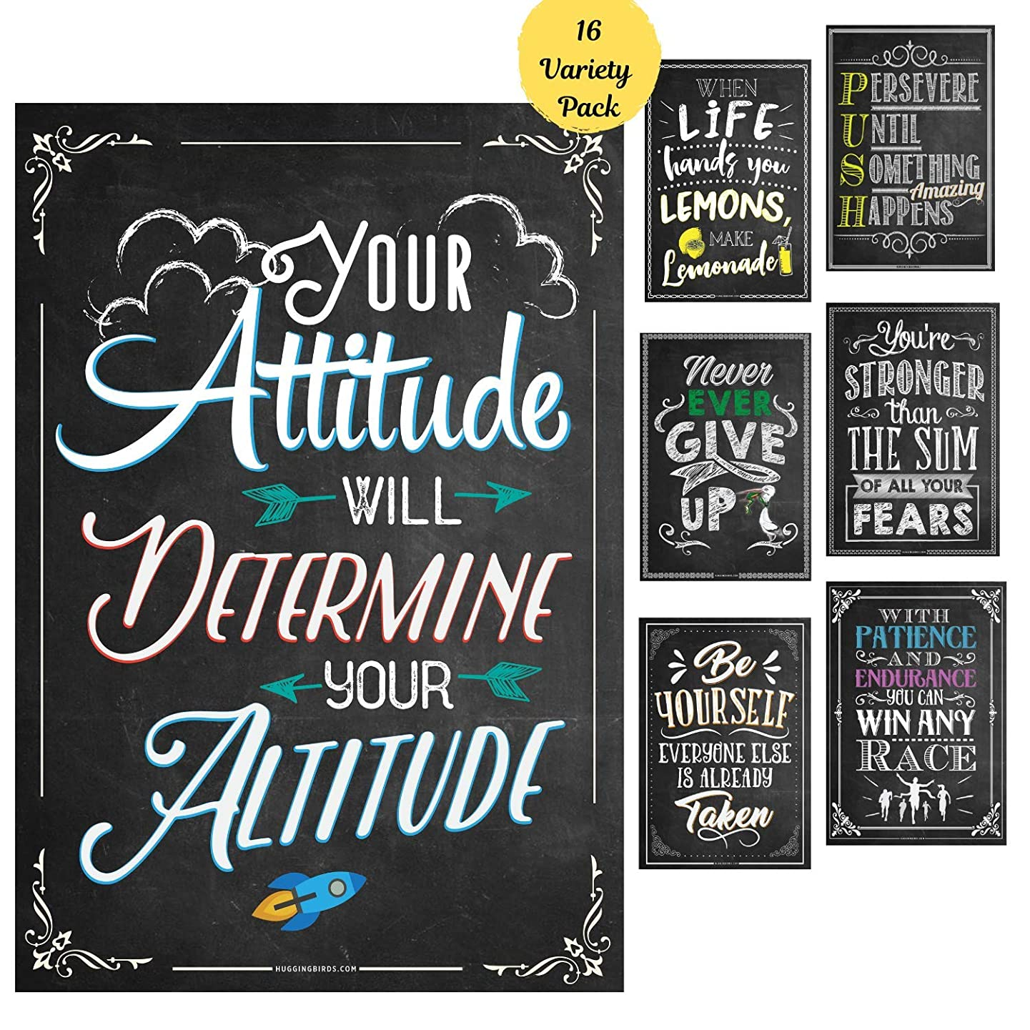 16 Motivational Classroom Posters| Motivational Quotes for Classroom Decorations, Bulletin Board Decorations, Teachers, Counselors| Laminated Posters (13 x 19 inches)