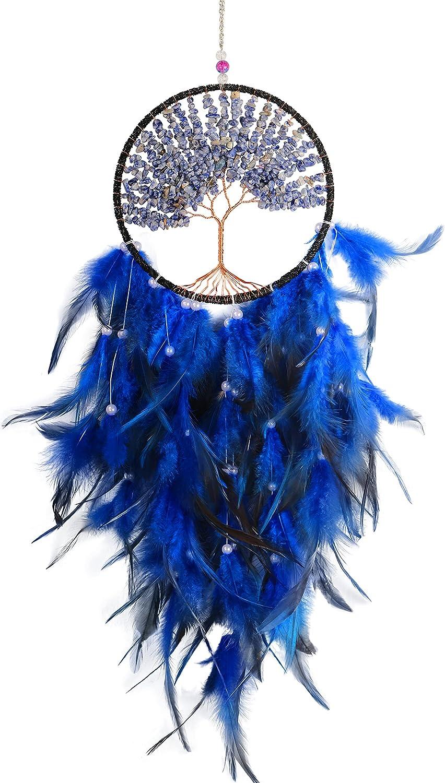 MEIRIYFA Atrapasueños Hechas a Mano Grande Plumas Atrapasueños Colgante de Pared Decoración para Niñas (azul)