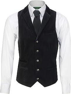 Xposed Mens Soft Corduroy Blazer Coat Vintage Retro Tailored Waistcoat UK[CWC-MATTHEW-BLACK-52,Waistcoat-Collar-Black]