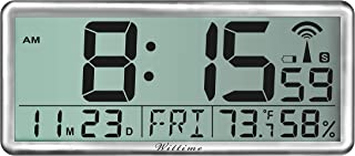 """Wittime 4080 Atomic Clock, Jumbo 3.9"""" Easy to Read Numbers, 14"""" Desk Clocks with Temperature Humidity, Battery Operated La..."""