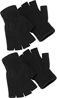 Sponsored Ad - Satinior 2 Pair Unisex Half Finger Gloves Winter Stretchy Knit Fingerless Gloves in Common Size