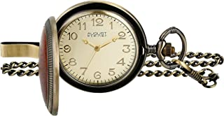August Steiner Men's Endeavor Analogue Display Japanese Quartz Pocket Watch with Metal Chain